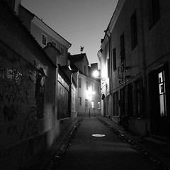 narrow street (Rambynas) Tags: lithuania lietuva night blackwhite bw squareformat street oldtown vilnius
