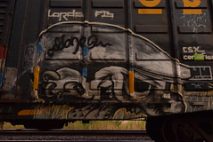 ODDONE (TheGraffitiHunters) Tags: graffiti graff spray paint street art colorful freight train tracks benching benched boxcar oddone odd one face