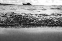 Beach, sea and a boat (jussitoivanen) Tags: kaivopuisto helsinki sea blackwhite blackwhitephotos