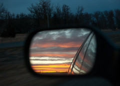 Sundown in my rearview (Emily05MLE) Tags: sunset highway objectsinthemirrorarecloserthantheyappear billingsmontanaontheroadevening