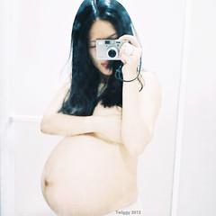 my baby (Twiggy Tu) Tags: baby selfportrait film me mirror pregnant contaxt3 twiggy 2012 carlzeisssonnart35mmf28