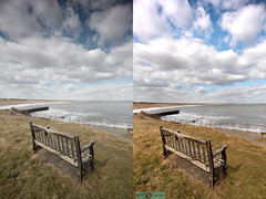 before and after (N.J.W Images) Tags: seascape sunshine clouds contrast canon bench landscape sigma windy sunny wideangle tyne northumberland northeast 1020 hdr blyth whitleybay ultrawideangle seatonsluice moodysky sigma1020lens eos550d