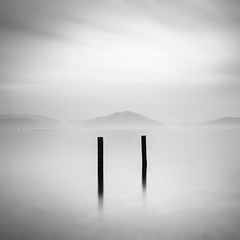 two posts (StephenCairns) Tags: longexposure japan overcast  poles blackandwhitephotography   lakebiwa  neutraldensityfilter shigaprefecture   adogawacho stephencairns  leegraduatedfilters hitechprostopndfilters