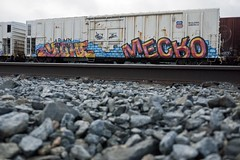 Yuthe and Mecro (mikeion) Tags: california ca santacruz car train graffiti tracks bayarea piece freight sorta freights mecro yuthe