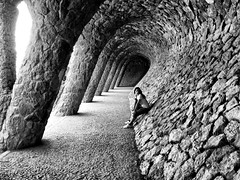 Using someone else's art! (jimiliop) Tags: barcelona park light bw inspiration art girl strange architecture contrast standing design blackwhite stones columns perspective posing tunnel stranger gaudi moment guell hdr rememberthatmomentlevel4 rememberthatmomentlevel1 rememberthatmomentlevel2 rememberthatmomentlevel3 rememberthatmomentlevel5