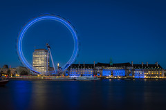 The Blue Hour (Scott Baldock Photography) Tags: county old city nightphotography bridge blue light motion blur reflection building london eye art westminster thames architecture reflections river landscape lights boat hall high nikon long neon tide low royal southbank shard riverthames se1 cityoflondon sw1 lightroom oldcountyhall londonarchitecture cityarchitecture d7000 scottbaldockphotography
