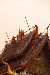 Working Late (labradoodledoo) Tags: roof work temple reparatur buddhist buddhism monks repair laos dach lao pdr luang tempel prabang