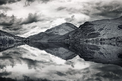 Loch Eck  Reflections (Philipp Klinger Photography) Tags: uk greatbritain trees sky bw cloud white mountain lake storm black mountains reflection tree nature water clouds landsc
