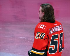 Ben Hanowski - 1st NHL Game (5of7) Tags: male sports hockey nhl numbers frombehind athlete calgaryflames 58 benhanowski