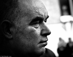 A face at the window. (Neil. Moralee) Tags: street portrait bw white man black detail monochrome face closeup nose nikon close side mature ear outline 18200 gent d5000 neilmoralee
