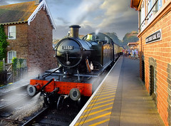 This Train Terminates at Bishops Lydeard (Beardy Vulcan) Tags: autumn england people fall station train october platform engine somerset steam passengers locomotive goldenhour signalbox quantocks wsr bishopslydeard petewaterman 2011 westsomersetrailway 5553 terminates