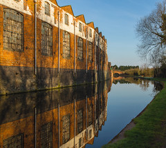 Canal Legacy - single exposure (Sue_Hutton) Tags: bridge reflection earlymorning bluesky frosty warehouse industriallandscape loughborough earlyspring loughboroughcanal industriallegacy april2013 t189522013week16