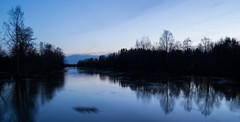 Blue hour (River Kyrnjoki) (iletus) Tags: blue sunset red sky orange sun reflection water night suomi finland river dark outside golden spring cool nikon flood hour uncool 1855 nikkor vesi ilmajoki heijastus joki kevt tulva kyrnjoki uncool2 uncool3 uncool4 uncool5 uncool6 uncool7 d3100