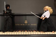 Flickr Friday: Black and White Try #4 (edwick) Tags: blackandwhite ninja piano sword samurai katana kunoichi 16scale femaleactionfigure triadtoys phicen