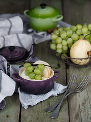 Creamcheese casserole with vanilla pears and grape (Julicious) Tags: wood food green cheese canon vintage table dessert yummy basket rustic cream free fork casserole fresh homemade pear vanilla setting pewter grape gluten ramekin foodphoto foodphotography foodstyle canon5dmarkiii