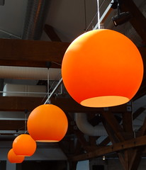 Fotografiska, Stockholm (blafond) Tags: lighting orange museum globe sweden stockholm exhibition musee exposition sverige suede luminaire fotografiska