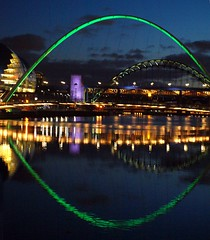 Millennium Bridge - Green 'Eye' on The Quayside (Gilli8888) Tags: green water night reflections river newcastle arch bridges sage tyne millenniumbridge gateshead quayside rivertyne thesage archbridge