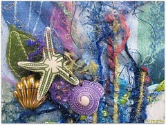 the journey is about to begin (colorfulexpressions) Tags: sea shells seashells 6ws journal sixwordstory fabric quotation sewn threads carlsandburg lrp colorfulexpressions