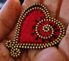 A little extra detail on the heart brooch! (woolly  fabulous) Tags: wool pin brooch felt zipper embroidered woollyfabulous