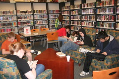 Great readers busily reading (Stow-Munroe Falls Public LibraryOH) Tags: libraries teens bookclub stowmunroefallspubliclibrary