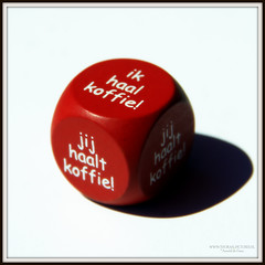 Wie haalt koffie (Thoran Pictures (Thx for 150k views)) Tags: shadow red white dice coffee square photography cafe pentax shade question vraag schaduw rood wit k5 koffie mazzel vierkant geluk dobbelsteen pentaxart pentax18135mmwr madebythoranpictures