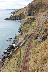 Bray - Greystones rail line. (geriatric.biker) Tags: blue ireland sea cliff beach model greystones railway wicklow dart trainrail