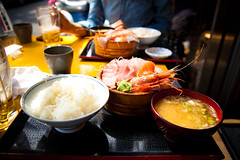 Japanese Food (Hal Bergman Photography) Tags: food japan sushi lunch japanese miso tokyo rice sashimi shrimp japanesefood misosoup