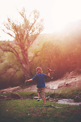 Imagine a place where I could fly. (Adriana Varela Photography) Tags: trees light boy sunset playing childhood creek forest airplane fun toy outdoors fly child play magic joy happiness adventure imagination aviator soar jessicadrossintextures