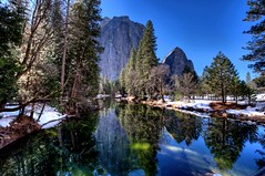 Yosemite - Merced River and Cathedral Rocks (Doug Santo) Tags: yosemite yosemitevalley mercedriver cathedralrocks yosemiteinwinter wintermeadow