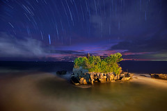 Startrails at Tanah Lot (alex hanoko) Tags: sea bali seascape indonesia bluehour startrails tanahlot d800 tabanan d800e
