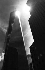 One World Trade Center (Greg Adams Photography) Tags: wtc worldtradecenter oneworldtradecenter skyscraper nyc manhattan monochrome colorblind blackandwhite bw sun sky reflection dark new building newyork newyorkcity up above hhsc2000 iphone