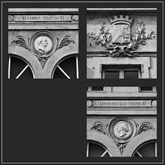 3 - Rambouillet, Faade de la Caisse d'pargne - Dtails (melina1965) Tags: aot august 2016 ledefrance yvelines nikon d80 noiretblanc blackandwhite bw mosaque mosaques mosaic mosaics collages collage rambouillet sculpture sculptures basrelief basreliefs faade faades