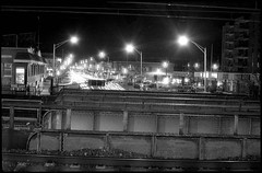 (david sine) Tags: linden nj newjersey train station commute public transport bridge street lights tracks stuff things fed3 rangefinder russianrangefinder 35mm blackandwhite bw kodak trix film scannednegative longexposure trashcanasatripod holdthebuttondown