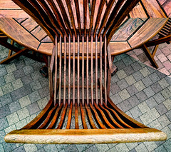 wooden furniture (Kai-Ming :-))) Tags: sony dscrx100m4 shisuimachi inbagun chiba japan shoppingmall texture shisuipremiumoutlets outdoor art digitalart creative pattern woodenchair woodentable table chair