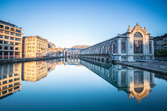 Les Forces Motrices (Maximecreative) Tags: select morning city reflection river factory cityscape summer mirror longexposure transformation majestic edifice architecture switzerland operahouse geneva rhne genve culture industry bfm batimentdesforcesmotrices