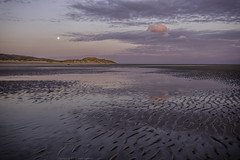 Emptiness or the lonely cloud (explored 13/9/16 #66) (MarkWaidson) Tags: talacre2016 moon cloud pink beach sand ripples sunrise reflection