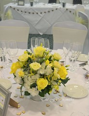 Table centre piece (The Flowersmiths Wedding Flowers) Tags: theflowersmiths kentweddingflorist weddingfloristinkent tablearrangements centerpieces yellowandgreenflowers yellowflowers