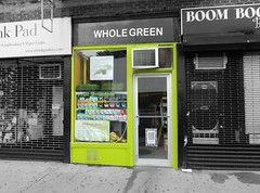 Whole Green (TheMachineStops) Tags: 2014 nyc newyorkcity westvillage outdoor selectivecolor green storefronts manhattan