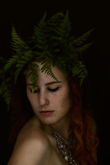 Film Noir (Alyssa Mort) Tags: alyssamort portait selfportrait surreal conceptual fern darkart darklighting filmnoir indoor blackbackground people