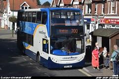 15592 (northwest85) Tags: stagecoach worthing coastliner 700 gx10 hba 15592 scania alexander dennis adl enviro 400 brighton street rustington bus gx10hba