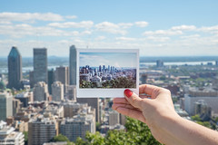Eva's Instax / Montreal Downtown (Toine B.) Tags: instax instantan film fuji pellicule montreal quebec canada montroyal mont royal d750 tamron2470 skyline