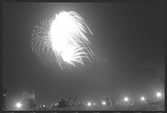 Fireworks (Area Bridges) Tags: blackandwhite newyork film beach pentax fireworks july longisland scan scanned 1990 mesuper orwo july1990 july41990