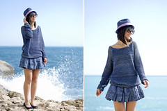 Cerulean blue & White windy waves (Laura Comolli (Purses&I)) Tags: blue sea sky panorama sun white beach smile look hat fashion outfit mare waves style sorriso sole bianco cappello onde mentone cerulean bellissimo cerulea capmartin ceruleanblue bluceruleo jonofui rossellacarrara