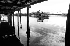 Beneath (Chrisseee) Tags: morning bw thailand blackwhite dock asia calm lamps fishingboat beneath fishingship
