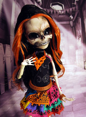 Scary Skelita (nonaptime) Tags: skeleton skull ooak repaint customdoll monsterhigh skelita