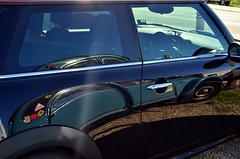 Side by side . . . a Mini and a Citroen (phunnyfotos) Tags: black reflection cars car vintage reflections nikon vintagecar shiny citroen australia mini victoria glossy vehicle vic d5100 nikond5100 phunnyfotos
