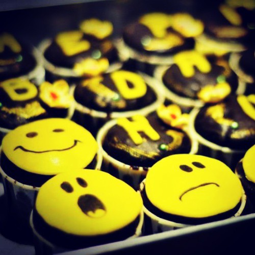 Smiley! Chocolate flavoured topped with ganache cupcakes