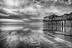 Old Orchard Beach Pier at Sunrise [Explored 4-12-13] (Tom Whitney Photography) Tags: blackandwhite bw usa sunrise dawn pier maine places website northamerica portfolio oldorchardbeach faim pixoto