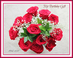 My Birthday Red Rose Bouquet! (bigbrowneyez) Tags: flowers roses love nature beautiful petals gorgeous joy blossoms natura fresh foliage gift stunning romantic blooms fiori delicate rosso amore regalo delightful redroses babysbreath dozenroses bellissimi mybirthdaytoday vigilantphotographersunite myapril15birthday myredrosebouquet