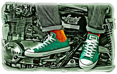 All Stars and Motorbikes. Green Tint. . . (CWhatPhotos) Tags: pictures red orange color colour green feet colors bike socks canon that lens stars photography foot shoe eos star design us sock shoes all colours foto with flat image baseball artistic pics f14 picture engine pic tint 11 images wear special canvas size have motorbike photographs photograph american fotos converse taylor 7d yamaha chuck 650 cropped custom which 1979 chucks trainer allstars contain selective 30mm basey canvasshoes cwhatphotos allstarssigma